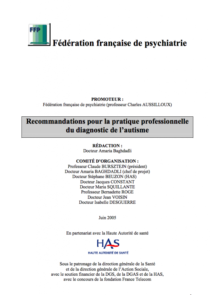 Couverture d'ouvrage: Recommandations pour la pratique professionnelle du diagnostic de l'autisme